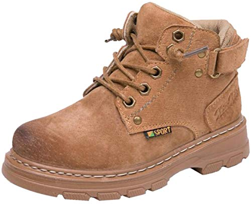 PPXID Boys Girls Warm Winter Snow Boot Leather Ankle Combat Boots Outdoor Hiking Boots-Khaki 11.5 US Little Kid