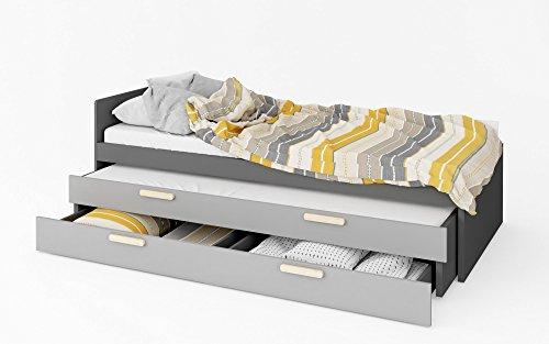 Furniture24 Bett POK PO13/PO14, Ausziehbett mit Federkernmatratzen 90x200 Schaumstoffmatratze 80x190 cm, Jugendbett mit Schublade