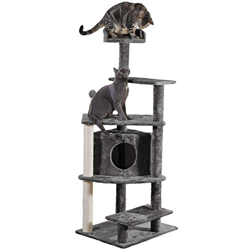 Furhaven Pet Cat Tree - Tiger Tough Cat Tree House Condo Perch Entertainment Playground Furniture for Cats and Kittens, Platform House Playground, Gray