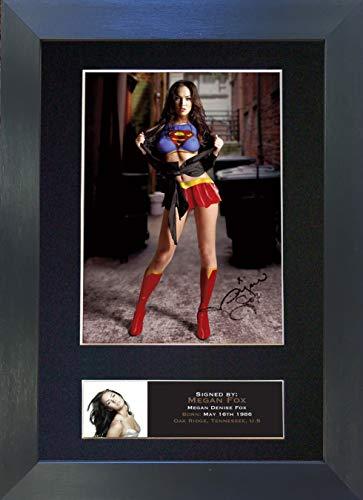 The Autograph Collector Fotografía firmada por Megan Fox Supergirl para autografiar montada, tamaño A4, RARA (297 x 210 mm) #385, Marco Negro, 30,48 x 20,32 cm