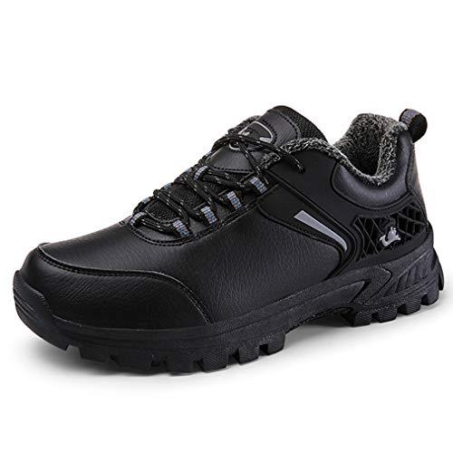 Shoes-yd Impermeable zapato de senderismo de los hombres, al aire libre ligeros con mochila de trekking zapatillas, antideslizantes y top del punto bajo del caminante, transpirable,Negro,EU40/US7