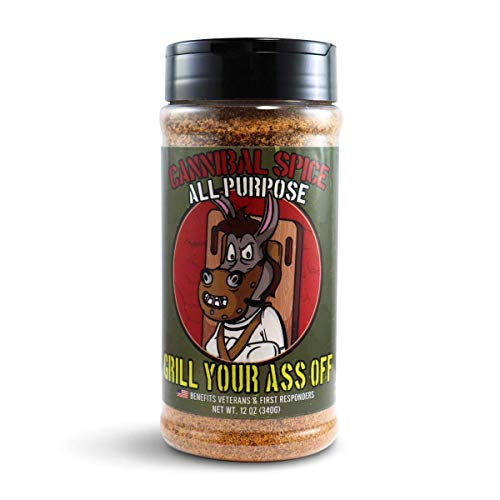 GYAO Cannibal All Purpose Spice - BBQ Rub - Award Winning BBQ & Grill Seasoning for Beef, Steak, Burgers, Pork & Chicken - Dry Rub - No MSG or Gluten - 100% Veteran Owned -USA Made-15oz