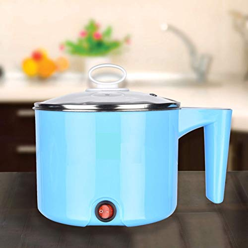 YIFEI Electric 1.5 L Multi Cooker Kettle with Concealed Base Multifunction Cooking Pot Noodle Maker Egg Boiler Vegetable and Rice Cooker and Steamer (Blue)
