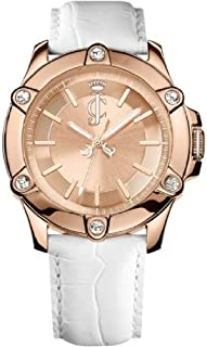 Juicy Couture Surfside Women's Quartz Watch with Gold Dial Analogue Display and White Leather Strap 1900938