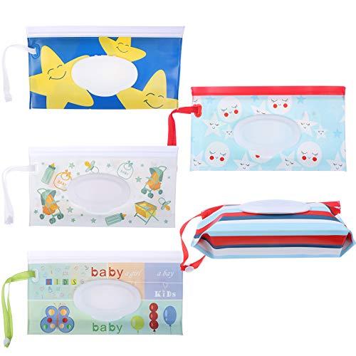 FADACAI 5 bolsas para toallitas húmedas, reutilizables y recargables, bolsas de toallitas húmedas portátiles con cremallera y plegable, 5 patrones