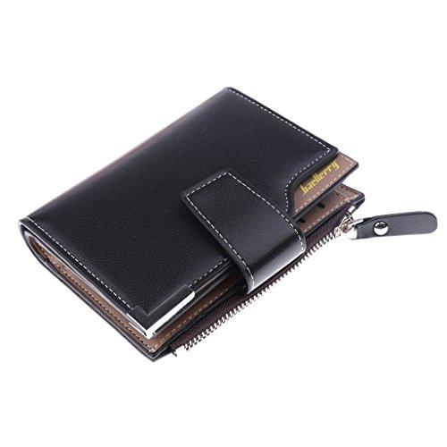 Baoblaze Herren PU Leder Reißverschluss Schnalle Geldscheinklammer Brieftaschen ID Kreditkarte Geldhalter - Schwarz