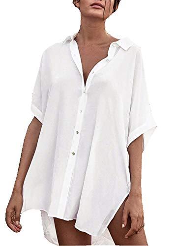 Orshoy Damen Leichte Sommerjacke Cardigan Elegante Casual Strand Cover Up für Urlaub Tunika Bluse Shirt Hemdkleid Blusenkleid Oversize Cardigan Top Shirtkleid Kleid