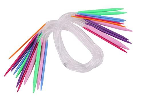 編み針 カラフル 輪針【 長さ 80cm 12サイズ セット (3.5mm-12mm) 】輪針セット 棒針 編み物 手編み 初心者 道具 手芸用品