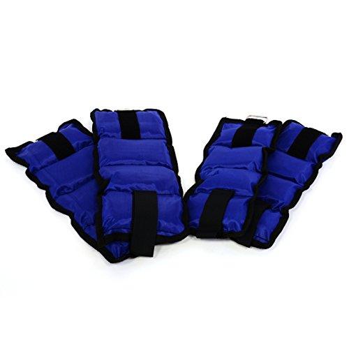 Nexos 4er Set Gewichtsmanschetten 3 kg Laufgewichte Hand- und Fußgelenkgewichte Gewichte für Arm- und Beintraining 2X 500g 2 x 1.000g Polyesterbänder mit Klettverschluss blau