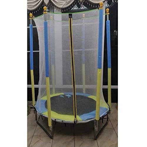 Trampolines Mini Trampoline with Enclosure Net - Easy to Assemble 5 Feet Kids Trampoline with Enclosure Basketball Hoop Net Trampoline for Kids Trampoline Park Safety Pad Toddler Kindergarten Indoor