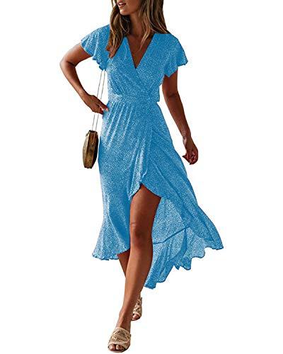 Style Dome Robe Longue Femme Robe de Plage Longue Maxi Robe Femme Bohème Grande Taille Été sans Manche Chic Col V,Bleu,XL