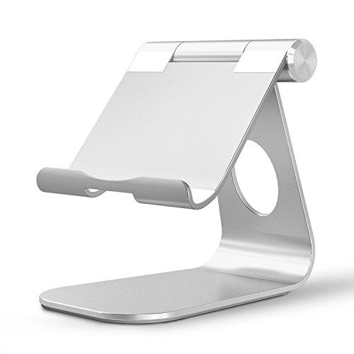 OMOTON Ständer für iPad Air, iPad Mini, iPad Pro 9,7 bis zu 12 Zoll,Samsung Tablet Ständer mit einstellbarem Winkel und Ladekabelauslass, stabil, Aluminium Halterung in Silber