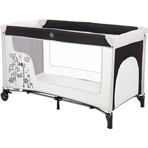 Reisebett/Babyreisebett GIRAFFE mit Rollen und Schlupfloch (Inklusive Matratze & Transporttasche) 120 x 60 cm von 0 – 5 Jahren - 2