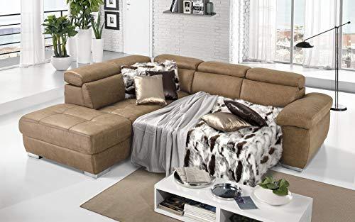 Dafnedesign.Com - Sofá cama esquinero de 3 plazas con chaise longue a la izquierda Tejido Tay Tay Camel (cm. 285 x 245 x 97 cm.