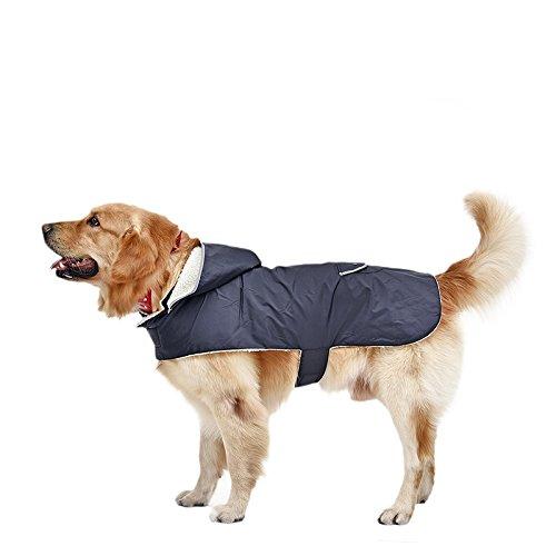 LeerKing Hundemantel Hundejacke Regenjacke Wasserdicht Hundepulli Kapuzenpullis Wintermantel Daunenjacke für kleine und mittlere Hunde Rückenlänge L