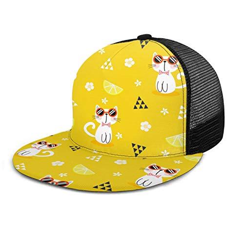 Lindo gato desgaste gafas de sol unisex gorra de béisbol estilo polo clásico deportes casual liso sombrero de sol sombrero de papá negro