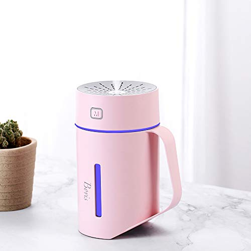 BOVIS 420ml USB Personal Desk Humidifier Portable Cordless Ultrasonic Cool Mist Humidifier mini vaporizer for travel home office school outdoor ,Tiltable, Auto-Off Safety Switch, 7 LED Light Colors