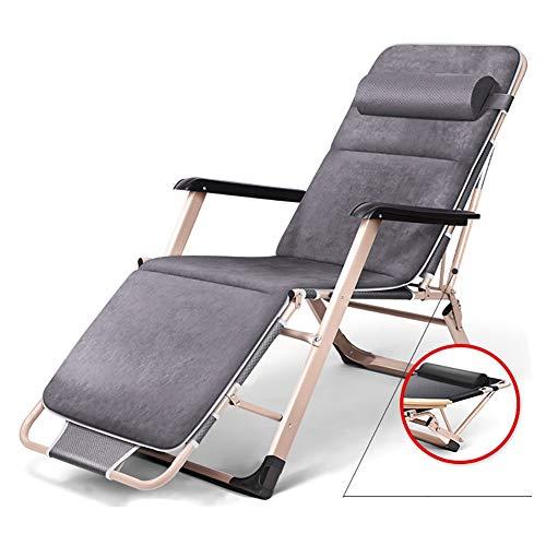 Fauteuils de salon inclinables Fauteuil Zero Gravity surdimensionné gris avec coussin en daim, fauteuil lounge inclinables de parasol pour patio pour le camping sur la plage