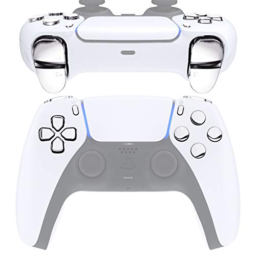 eXtremeRate Replacement D-pad R1 L1 R2 L2 Triggers Share Options Face Buttons for PS5 Controller, Chrome Silver Full Set Buttons Repair Kits for Playstation 5 Controller - Controller NOT Included