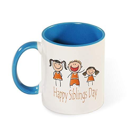 Promini Novelty Mok, gezichtsuitdrukking mensen Cartoon voor broers en zussen dag keramische mok, 11oz tweetonige lichtblauwe en witte mok, geschenken voor broers of zussen, grappig cadeau voor familie, koffie of thee mok