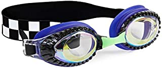 Bling 2O Kids Swimming Goggles - Blue Race Car Swim Goggles for Boys - Anti Fog, No Leak, Non Slip, UV Protection with Hard Travel Case - 8+