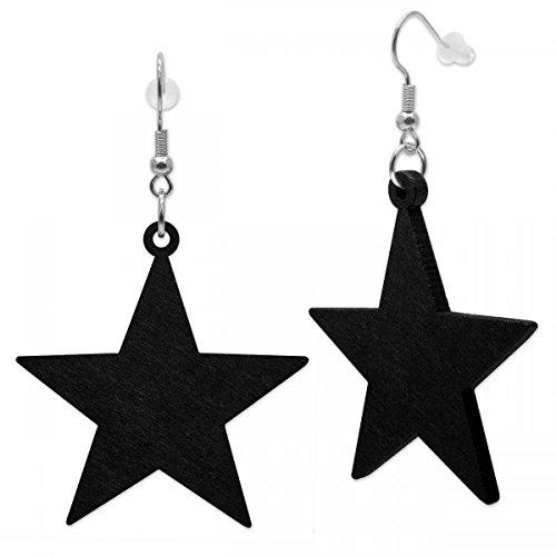 SoulCats® 1 Paar Stern Ohrringe aus Holz federleicht, in der Farbe schwarz