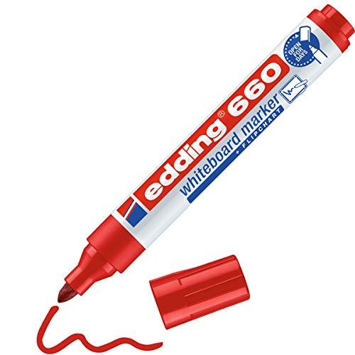 edding 660 Marqueur pour tableaux blancs - rouge - 1 stylo - pointe ronde 1,5-3 mm - feutre effaçable - pour tableaux blanc, magnétique, mémo et chevalet de conférence - sketchnotes - rechargeable