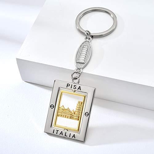 Italien Pisa Schlüsselanhänger Schlüsselanhänger Zinklegierung Schlüsselanhänger Mode Schmuck Tasche Charm Silber Schlüsselanhänger Italien Souvenir