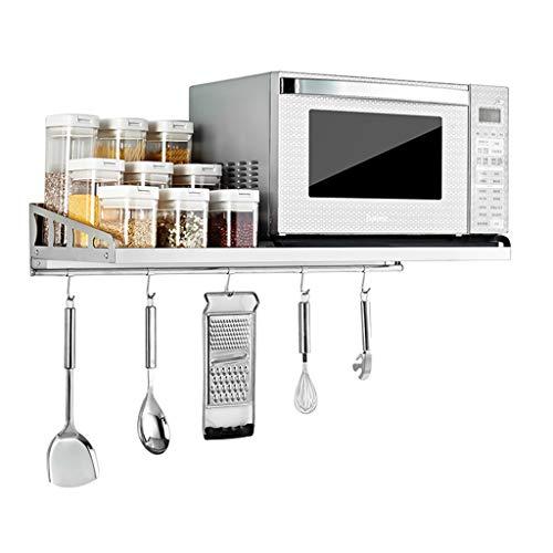 YJKDM Edelstahlgestell 304, Haushalts-Wandregal, geeignet für Mikrowelle/Backofen/Gewürze und Aufbewahrung von Küchenutensilien