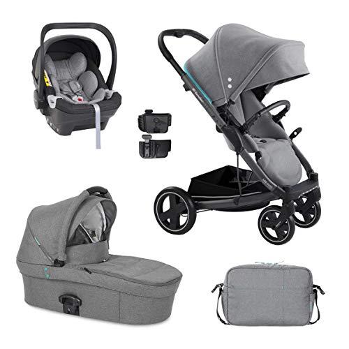 3in1 Kombikinderwagen X-lander Buggy X-Cite Babywanne Babyschale Wickeltasche Komplettset (Azure grey)