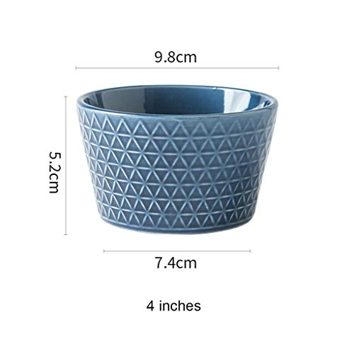 CJW Bol de riz bleu en céramique à usage domestique - Assiette à soupe pour bol européen (Taille : 9.8cm)