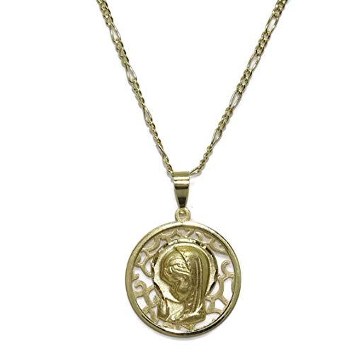 Never Say Never Medalla de Oro Amarillo de 18K Virgen Niña Calada de 18mm con Cadena Modelo 3x1 de 45cm Todo Oro 18k. Especial comunión