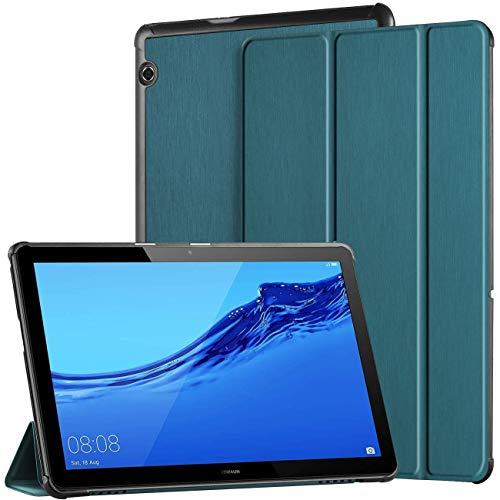 EasyAcc Cover Custodia Compatibile con Huawei MediaPad T5 10 2018, Ultra Sottile Smart Custodia Cover in Pelle PU con Supporto Funzione Compatibile con Huawei Mediapad T5 10 2018 Tablet,Blu Pavone