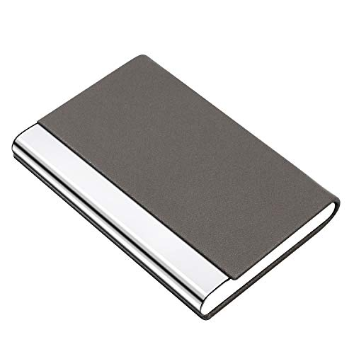 PADIKE Business Name Card Holder Luxury PU Leather & Stainless Steel Multi Card Case,Business Name Card Holder Wallet Credit Card ID Case/Holder for Men & Women (Gray)