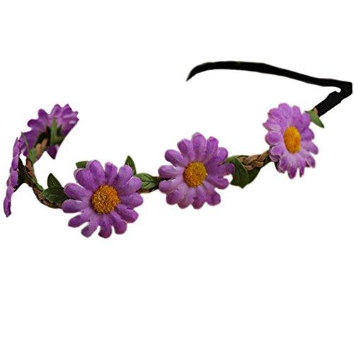 Bluelans® Hippie-Liebe Blumenkranz Blumenkrone Festival Hochzeit Haarkranz BOHO Blumenstirnband (Lila)