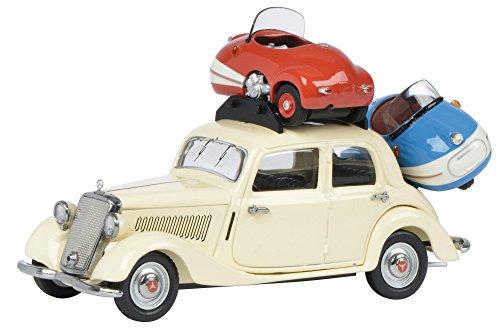 Schuco - 450227000 - Véhicule Modèle Set - Mercedes-Benz 170V - avec 2 Brütsch Mopetta - Echelle 1/43