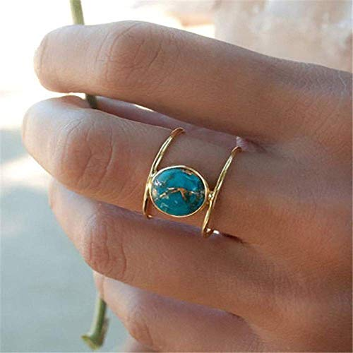 MAIHAO Jewelry Women 18K Gold Filled Huge Turquoise Wedding Anniversary Ring Gift Size 6-10 (US Code 7)