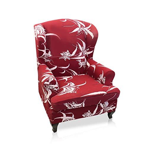 VanderHOME Sofabezug Ohrensessel husse ohrensessel bezug 1 Sitzer Stretch und antirutsch Sesselhusse Stretch sesselhussen Sessel bezug husse für ohrensessel rot