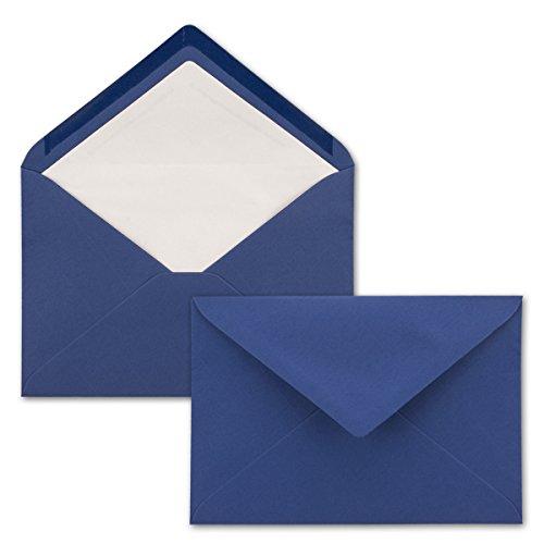 50x Brief-Umschläge C5 - Dunkel-Blau - gefüttert mit weißem Seidenpapier - 110 g/m² - 22,9 x 15,5 cm - Nassklebung