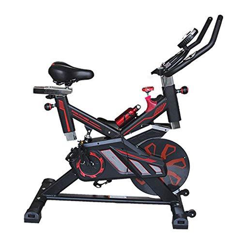 YLJYJ Bicicleta estática de Ciclismo para Interiores con cinturón de 15 kg, Volante, Resistencia magnética, Asiento Ajustable, Pantallas LCD, Bicicleta para Interiores, Cardio para Gimnasio en casa