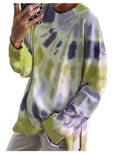 Europe and The United States 2020 Autumn New Coat Round Neck Long Sleeve Tie-Dye Multicolor Casual Sweater Women