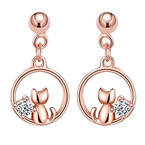 Unendlich U Mädchen Damen 925 Sterling Silber Kleine Katze Ohrstecker Einfach Ohrhänger Ohrringe Ohrschmuck,Rosegold