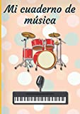 Mi cuaderno de música: Cuaderno de música | Libro de partituras | Cuaderno de teoría musical | A4 grande - 100 páginas | Cubierta Tema Batería y sintetizador