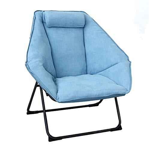 HAIYU- Sillón Plegable, Sillón Reclinable Moderno y Relajante Sillón Tapizado de Ocio con Asiento Hexagonal para Sala de Estar, Dormitorio, Balcón, 4 Colores(Color:Azul)