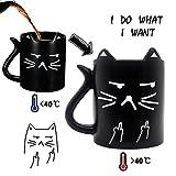 Taza gato, tazas desayuno originales, taza termosensible, taza café sensible a calor, taza Divertida con frases I Do What I Want, taza cambio color, opción regalo perfecto, taza graciosa, Onebttl-NEKO