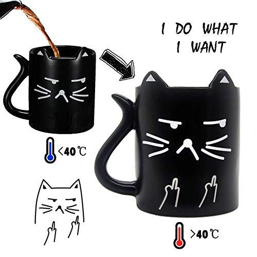 Onebttl Katzen Tasse Lustige Tasse mit sprüchen I do What I Want (Ich Mache was ich Will) Zaubertasse Kaffeebecher Kaffeetasse Farbwechsel Tasse Thermoeffekt Perfekte Geschenkoption Neko