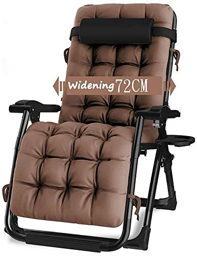 DAGCOT Reclining Outdoor Folding Chairs Lounge Chair Zero Gravity Patio Deck Chair Reclining Garden Chair Outdoor Folding with Brown Cushions Portable Rocking Chair Household Portable Lounge Chair Lun