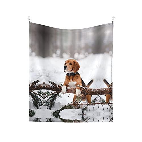 Tapiz para colgar en la pared, diseño de perro del bosque de invierno, manta de pared impresa para sala de estar, dormitorio, decoración del hogar, 152 x 130 cm