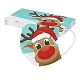 kekison 10 Stück 3 lagig Mundschutz Erwachsene Damen Herren Mund Nasenschutz mit Motiv Weihnachten Elch Rentier Staubdicht Atmungsaktiv Bandana Einweg Mund und Nasenschutz Halstuch