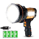 GEPROSMA Rechargeable LED Spotlight Flashlight Handheld Super Bright Large 4 Battery High Lumens